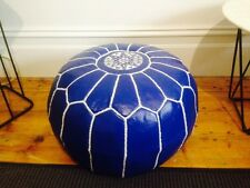 Stunning Moroccan Leather Ottoman Pouffe Pouf Footstool In Royal Blue