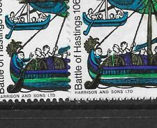 GB QEII SG711, Spec W103var 1966, HASTINGS 6d,  'NO WHITE LINE ON HULL', ERROR