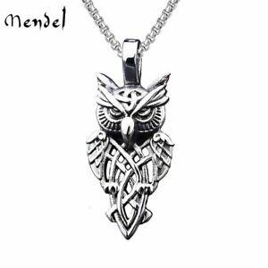 MENDEL Stainless Steel Mens Irish Celtic Trinity Knot Owl Pendant Necklace Chain