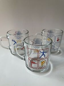 Set 3 Vintage McDonalds 1984 Olympics Games Glass Coffee Mugs Cup Red White Blue