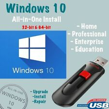 Windows 10 32/64bit Home Pro Enterprise Upgrade Repair Install (USB Drive)