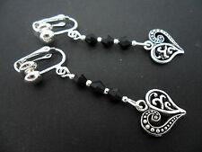 A PAIR OF PRETTY  TIBETAN SILVER & BLACK CRYSTAL HEART CLIP ON EARRINGS. NEW