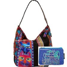 Laurel Burch Stacked Whiskered Cats Large Hobo Tote RET w Indigo Makeup Bag New