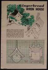 Gingerbread WREN Birdhouse 1959 How-To build PLANS