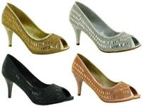 Ladies Women mid heel slip on wedding party fashion sandals Size UK 3-8