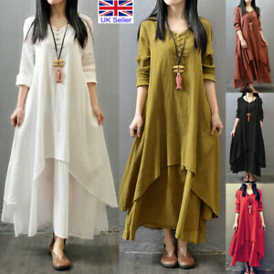 Womens Baggy Kaftan Maxi Dress Tunic Gypsy Linen Long Sleeve Oversized Dresses