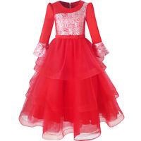 Sunny Fashion Robe Fille Rouge Étagée Couches Vacances Partie Habiller