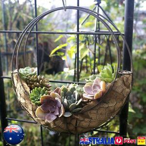 28cm Retro Iron Moon Shape Succulent Pot Metal Hanging Planter Plant Holder