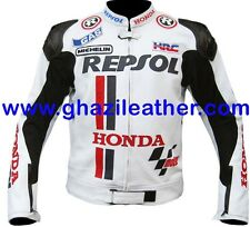 MEN MOTOGP MOTORBIKE/MOTORCYCLE LEATHER RACING JACKET WHITE AVAILABL ALL SIZES