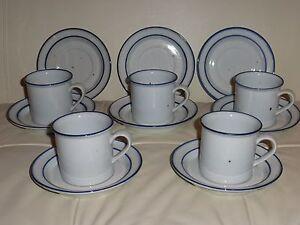 DANSK DESIGNS DENMARK BLUE MIST COFFEE MUGS CUPS & SAUCERS SET