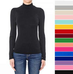 Women's Turtleneck Long Sleeve Shirt Basic Solid Fitted Top Soft Stretch Knit