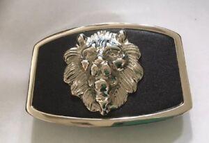 Silver tone  Lion Head Belt Buckle black background Western Style