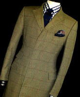 LUXURY MENS ALFRED DUNHILL LONDON BOX CHECK TWEED COAT OVERCOAT JACKET 40R