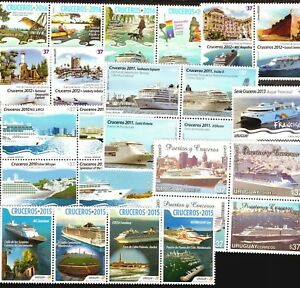 DISCOVER URUGUAY ! SELECTED 25 STAMPS MNH TURISM COAST LIGTHOUSE CRUISE SHIPS