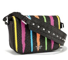 Victorias Secret Mini Crossbody Shoulder Bag BLACK MULTI STRIPES - NEW!