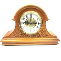 D & A Quartz Westminster Chime Wooden Mantle Clock Leaf Carved Design Read Desc.