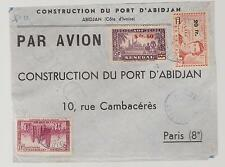 1930s  Ivory Coast cover to France Construction du Port D' Abidjan