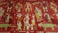 """CLARENCE HOUSE ZAMBEZI RED TEXTURED AFRICAN LINEN VELVET FABRIC 3 YARDS 51""""W"""