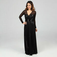 NEW Vicky Tiel Women's Sequined Long Sleeved Evening Gown Dress -BLACK- 4