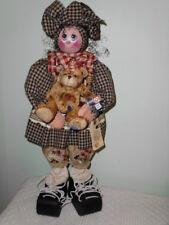 """Ooak Artist Doll Sally 26"""" Wooden Girl Hand Painted Birdhouse Summer Print Dress"""