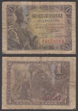 Spain 1 Peseta 1943 (VG-F) Condition Banknote P-126