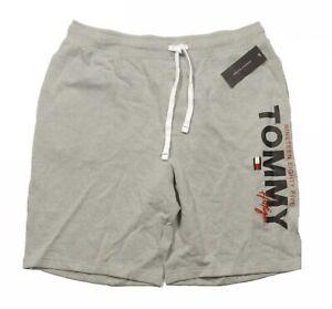 Tommy Hilfiger Sleepwear Men's Gray Heather Logo Print Lounge Sleep Shorts