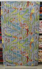 Indian Cotton Kantha Quilt Screen Print Blanket Bedding Bird Bedspread Coverlet