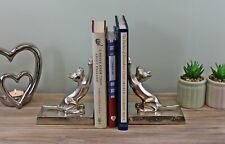 Bookends Metal Pair of Silver Cats Ornament Aluminium Book End Holders Decor
