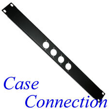 1HE Rackblende 4x D-Form - Stahl - schwarz - gekantet # XLR D-Type Rack Panel