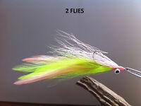 CLOUSER/DECEIVER FLY CHARTREUSE/PINK 2 FLIES  #1/0 34007 redfish, striper,pike