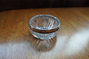 ANTIQUE CUT GLASS STERLING SILVER TRINKET POT