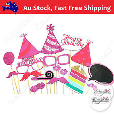 18Pcs Happy Birthday Photo Booth Props Set Party Decorations HotPink 21 30 40 50