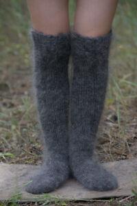 New Gray Handmade Knee cashmere mohair Socks Half Hose goat down Size M