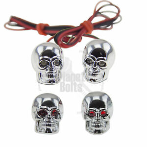 Red Skull LED License Plate Bolts & Valve Cap Motorcycle Car Cap Lid Cover