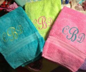 Personalized Monogrammed Fun Colorful Bath Towel, Bridesmaid, Wedding