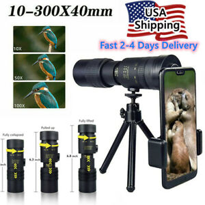 4K 10-300X40mm Super Telephoto Zoom Monocular Telescope Fogproof Waterproof