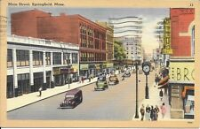 Main Street, Springfield MA Handsome Vintage Postcard used 1950