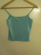 Bay Turquoise Blue Cotton Cropped Vest Top in Size 12