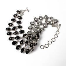 NWT Hamptons Eve Amrita Singh Reversible Bib Necklace Black Gunmetal & Silver