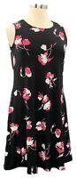 Susan Graver Size L Black Floral Liquid Knit Sleeveless Knee Dress w/Pockets