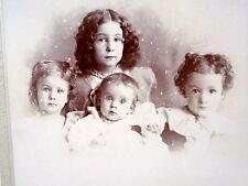 Lovely Cabinet Card Photo 4 Young Children Girl Great Hair clothing Named