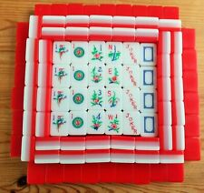 MAHJONG VINTAGE LUCITE / ACRYLIC 152 PIECES .RED, OPAQUE & WHITE