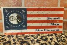Abraham Lincoln American Flag Glass Plate Tray Dish Beard Man Department 56