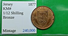 World Nice Old Bailiwick of Jersey 1877-H Coin 1/12 Shilling KM#8 Nice Victoria