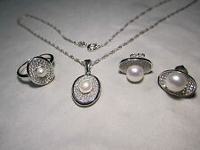 Ohrstecker Ring Anhänger mit Kette Schmuckset in Silber 925, SW-Perle Zirkonia