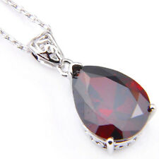 Pear Shaped Genuine Fire Red Garnet Gemstone Platinum Plated Wedding Pendant