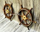 """Nautical Maritime 24"""" Wooden Ship Wheel Pirate Captain Boat Steering (Set Of 2)"""