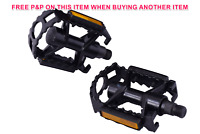 """ANODISED BLACK ALLOY 9/16"""" MTB PEDALS ONE PIECE LIGHTWEIGHT BORON AXLE 50% OFF"""