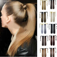 Real New Clip in Human Hair Extension Straight Ponytail Wrap Around Ponytail Hot