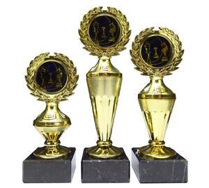 3er-Serie Schach-Pokale mit blauen Emblemen und Ihrer Wunschgravur (Biso3)